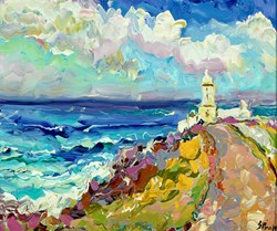 Pendeen Watch by Jeffrey Pratt - Original Painting on Board sized 13x11 inches. Available from Whitewall Galleries